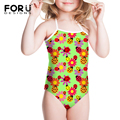 FORUDESIGNS White&Yellow Funny Cute Girls Swim Suit for Beach Summer One Piece Beath Swim Wear Bathing Suit For Kids Bandage