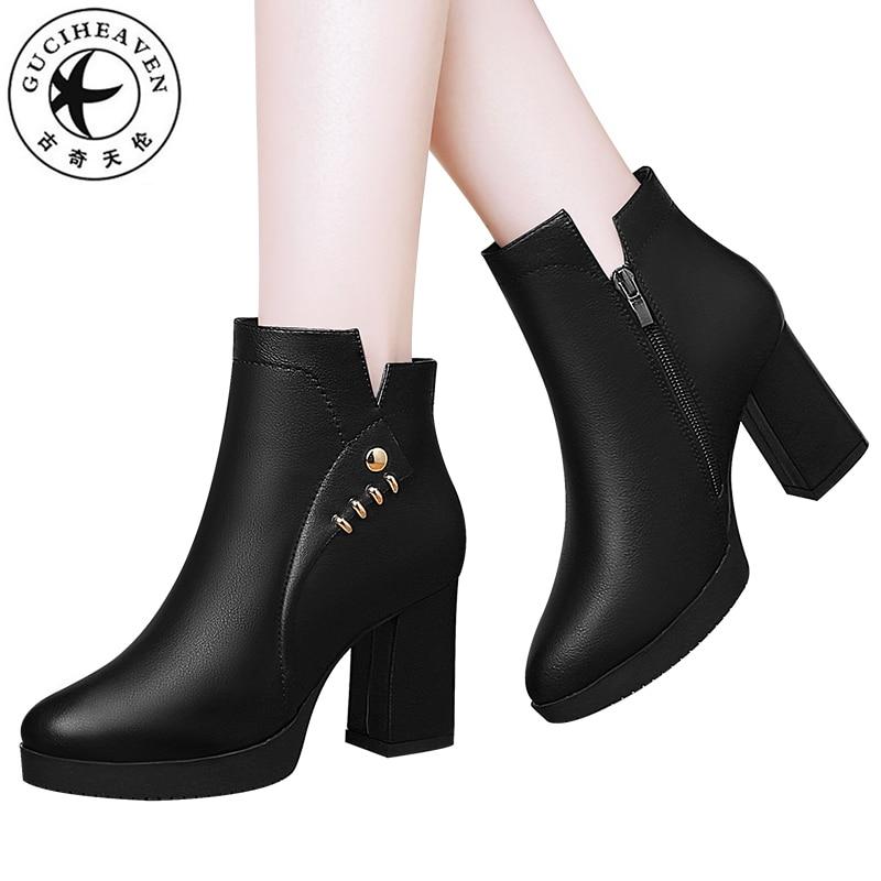 Guciheaven 2018 High Heels 7.5cm Short Plush Winter Ankle Boots Women Warm Inside Square Zipper Martin Platform PU Leather Shoes цена