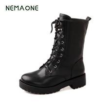 NEMAONE otoño invierno mujeres botines nueva moda mujer botas de nieve para las niñas damas zapatos de trabajo más el tamaño 35-43