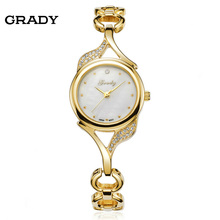 Ladies light gold wrist watches waterproof all stainless steel fashion watches women 2016 new watches