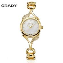 Дамы светло-золотой наручные часы водонепроницаемый из нержавеющей стали моды женские часы 2016 новые часы
