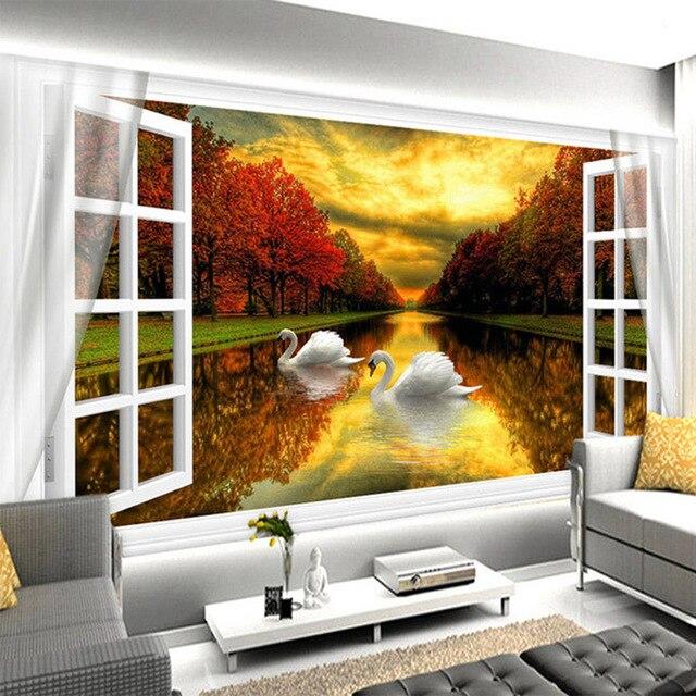 Fototapete Aus Dem Fenster Sonnenuntergang Herbst Wald See White ...