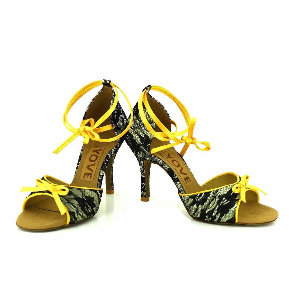 YOVE Dance font b Shoe b font Lace Women s Latin font b Salsa b font