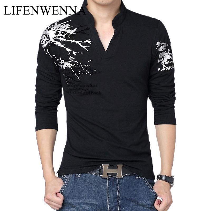 2019 New Fashion Men's T Shirt Fashion Print V Neck Long Sleeve T Shirt Mens Clothing Trend Slim Fit Casual Top Tees Shirt 5XL