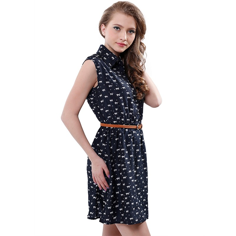 Softu Hot Sale Women's Fashion Summer Casual Shirts Dress Sleeveless Tank Knee Length A Line Dress Cat Printed Dresses With Belt 6