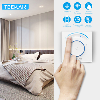 Teekar Smart Light Dimmer Switch EU Standard Wifi  Light Switch Touch APP Remote Control Work With Amazon Alexa Include LED Bulb teekar eu standard smart dimmer switch 1gang work with amazon alexa google home timing function app control light switch w bulb