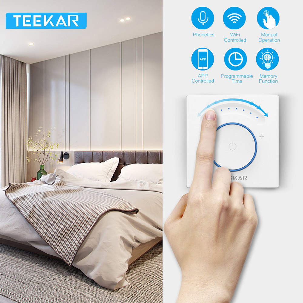 Teekar Smart Light Dimmer EU Standard Wifi Switch Touch APP Remote Control Work with Alexa Include LED Bulb