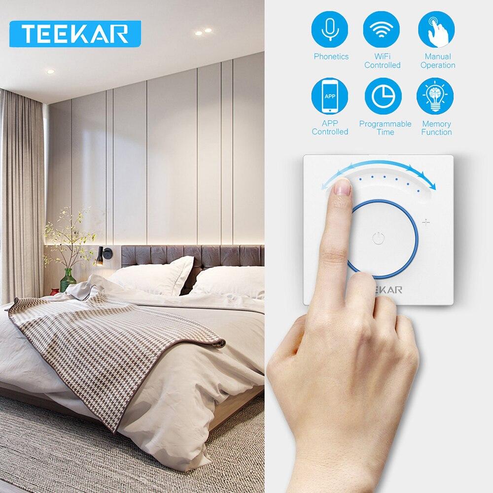 Teekar inteligente luz dimmer interruptor padrão da ue wi fi interruptor de luz toque app controle remoto trabalho com alexa incluem lâmpada led