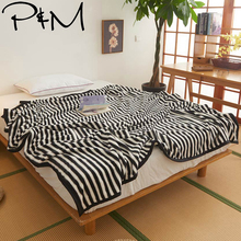 Papa&Mima white Black Blanket Solid Color S M L size Bed Cover Throws