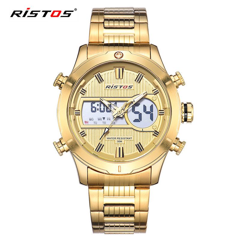 RISTOS Sport Digital Watch Men Military Electronic Wrist Watches Led Dual Display Auto Date Calendar Wristwatch Reloj Mujer 9360 oulm military digital dual time watch men leather strap chronograph calendar alarm waterproof led electronic wrist watches 2018