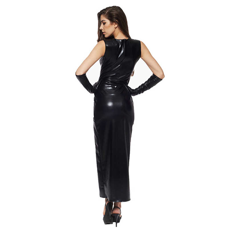 Sexy Fetish Zwart Vinyl Lederen Bodysuit Lingerie Jurk Erotische Bondage Latex Lange PU Jurk en Handschoenen Clubwea