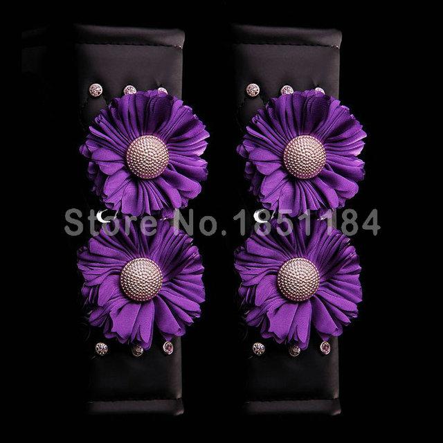 Cinturón De Seguridad Cubre Asiento De Coche de Cuero de lujo Sun Flower Rhinestone Mujeres Auto Decoración Interior 2 unids 5 Colores