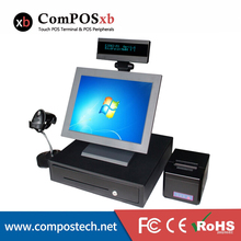 15 inch TFT LED Touchscreen Fast Food Pos System All In One 5 Wire Resistive Touch Screen With Barcode Scanner And Cash Drawer