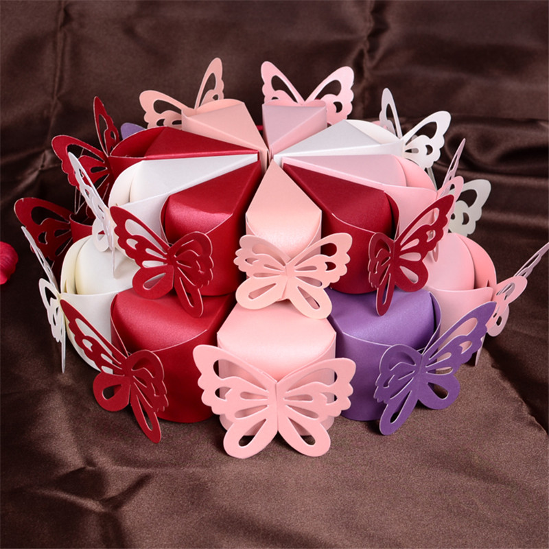 ✓50 pcs Papillon Style Faveur Cadeau Bonbons Bo tes  G¢teaux Pour