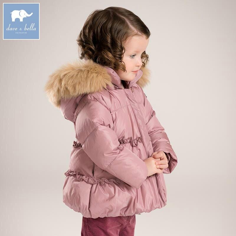 DB6017 Dave Bella зима детские для маленьких девочек пуховая куртка детская белая утка вниз обивка пальто Дети Верхняя одежда с капюшоном