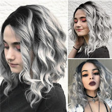 2019 Hot Sell Short Wavy Bobo Human Hair Rose net Wig Glueless Front Wigs Gray Women New Fashion Lady Wigs Drop Shipping(China)