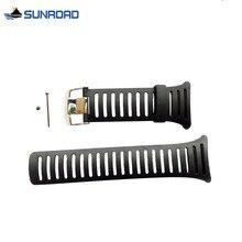 شحن مجاني الأصلي 25 ملليمتر أسود سيليكون المطاط ووتش الشريط للماء الرياضة ووتش باند ل wristswatch sunroad FR802 FR720