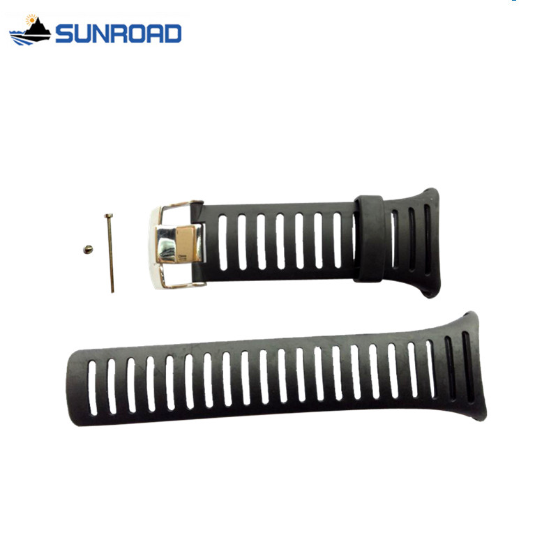 Prix pour Livraison Gratuite Origine 25mm Noir En Caoutchouc de Silicone Montre Bracelet Étanche Montre De Sport Bande Pour WristsWatch Sunroad FR802 FR720