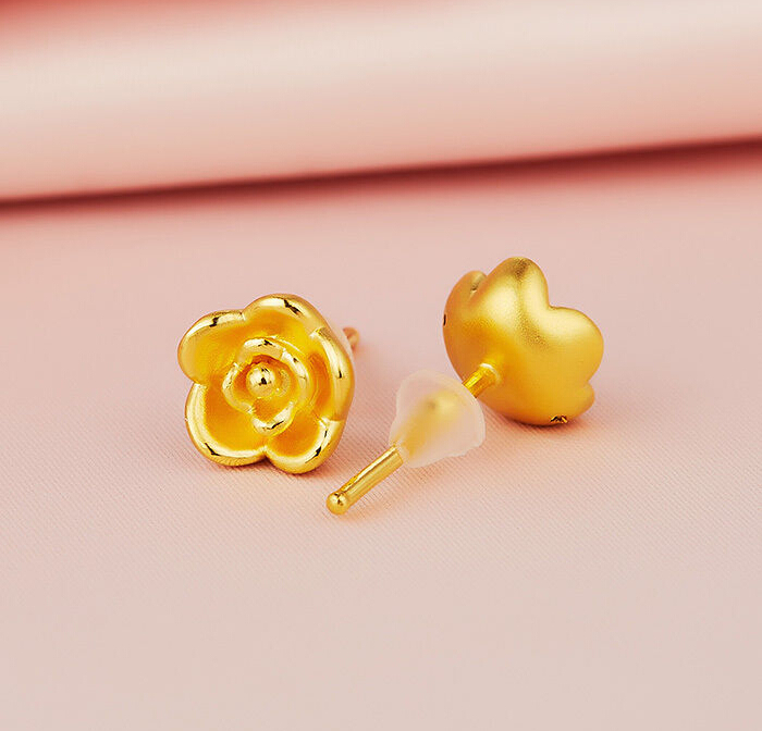Pure 999 24K Yellow Gold Earrings/ Craved Lovely Rose Flower Earring Stud /1-2g стол из тика colin