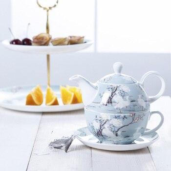 350/450ml Boutique European Hand Painted White Crane Ceramics Bone China Afternoon Tea Set Teapot Kettle Teacup Milk Coffee Mug
