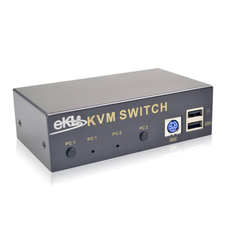 EKL 2 PORT VGA KVM Switch USB PS2 Keyboard Mouse Switch Box with 2 PCS KVM Cable Support Audio new usb 2 0 kvm 4 port svga vga keyboard mouse switch box monitor sharing wholesale