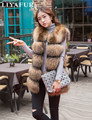 LIYAFUR 2017 New Women's Real Genuine Raccoon Fur Leather Vest Waistcoat Gilet
