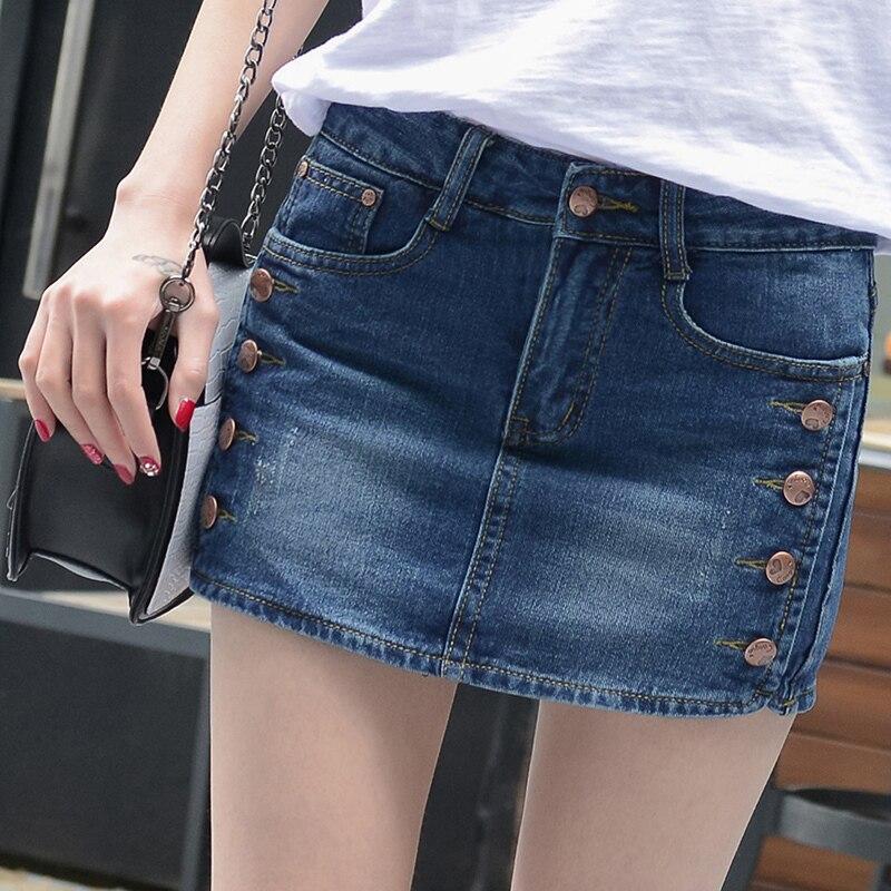 Mid Zwężone Skorts Spódnice Jeansowe Spodenki Kobiet 2017 Lato Szczupła Niebieski Krótkie Jeans Rocznika Krótkie Panie Wysokiej Jakości E840