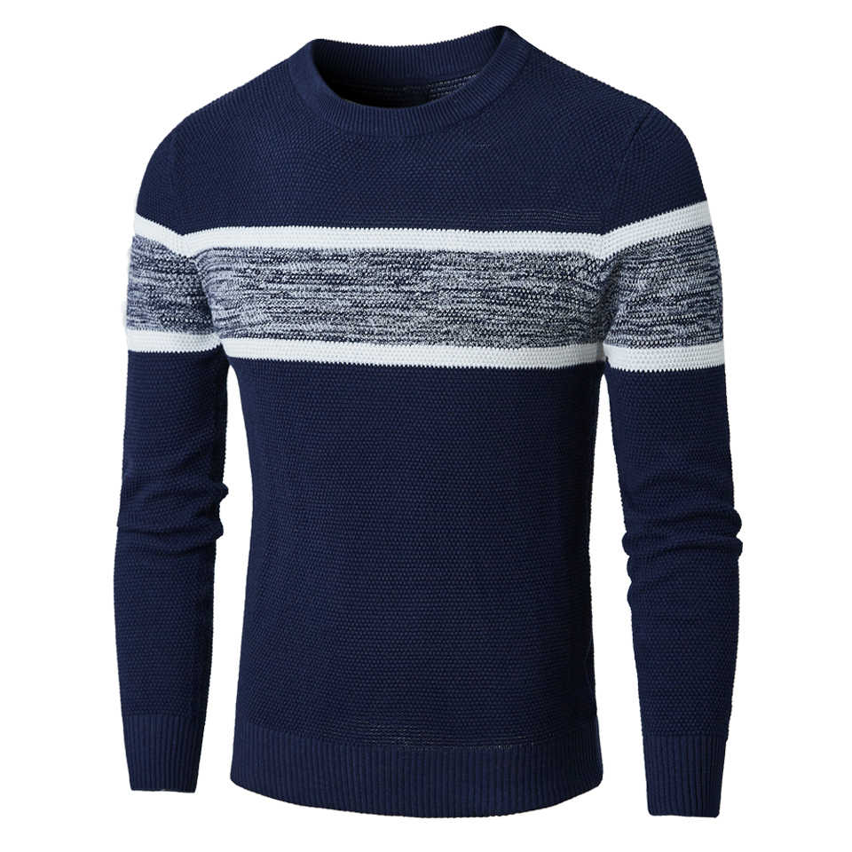 Oufisun Men Autumn Casual Knitted Soft Cotton Sweaters Pullover Men 2019 Winter New Fashion Striped O-Neck Sweater Coat Men 3XL