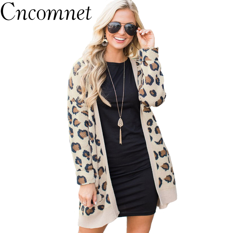 Women Long Coat Sexy Cardigan Leopard Comfortable Slim cardigan 2018 Autumn Fashion New Style Printed