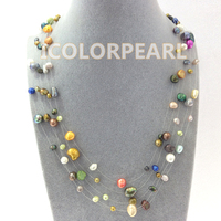 Wholesale 5pcs Lot Lowest Price For Three Row Multicolor Real Natural Freshwater Fishline Pearl Necklace Chilren
