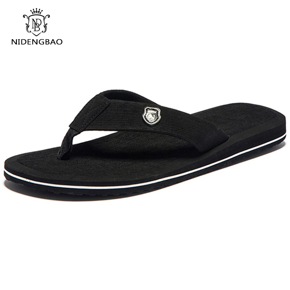 Beach Sandals Slippers Flats Flip-Flops Non-Slip-Shoes Plus-Size Summer Brand for Men title=