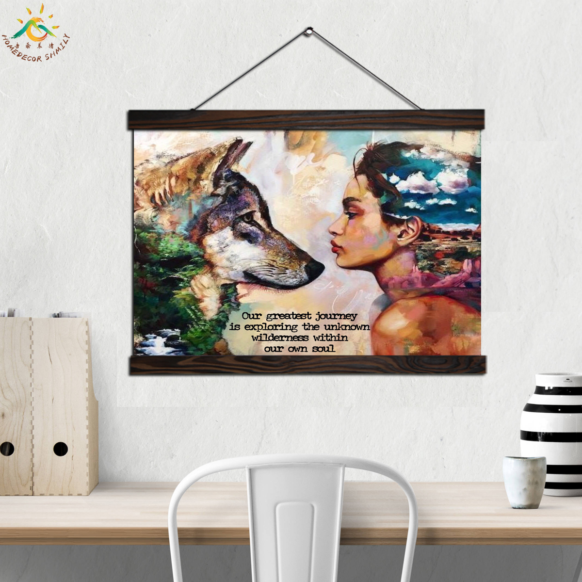 Wolf and Girl Wall Art Canvas Prints Painting Frame Scroll Painting Hanging Poster Decorative Picture art print wall poster in Painting Calligraphy from Home Garden