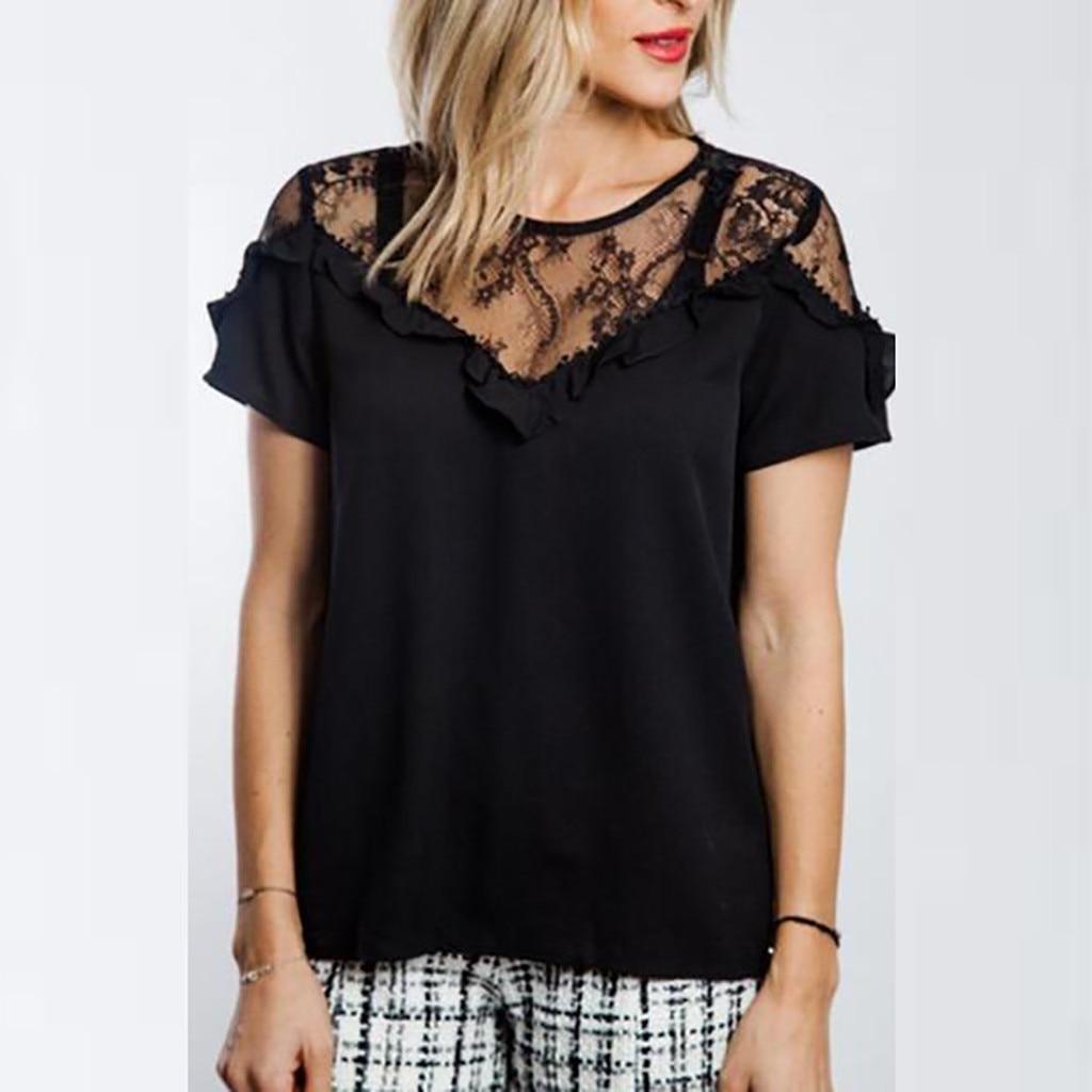 SAGACE Women Solid Lace Patchwork Ruffles T-shirts Women Sexy Short Sleeve Top T Shirt Women Top Slim Fit Soft Women Tshirt new