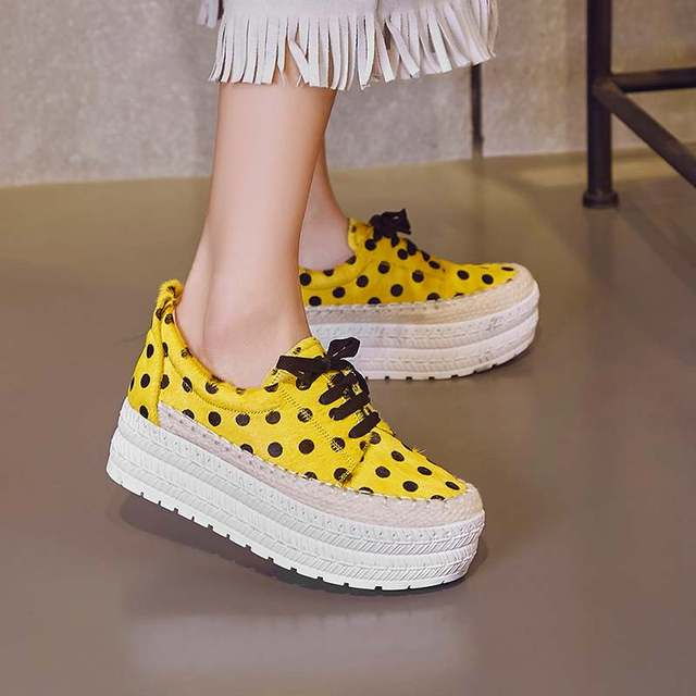 women brand shoes waterproof wedges Wave point lace up lady horse hair genuine leather round toe increased platform shoes L68