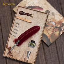 Vintage Retro Style Feather Dip Pen Sealing Wax Gift Box Set English Calligraphy Cartoon Foutain Pen