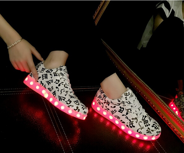7 color basket led shoes casual 2016 new popular led shoes for adults led light luminous - Basket Femme Color
