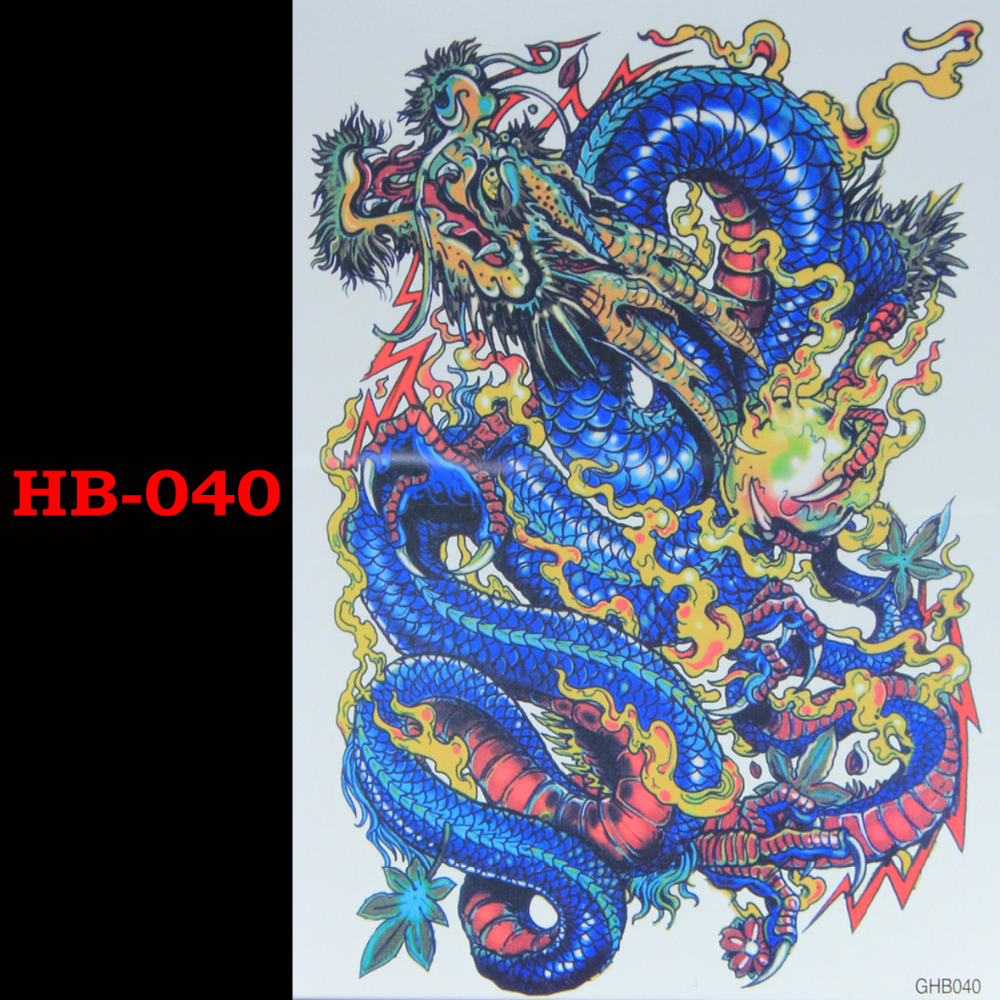 Chinese dragon Temporary Tatto Waterproof Men Women 3D Tattoo Arm Sticker Fake Arm Sleeve Body Tattoo Shoulder Tattoos