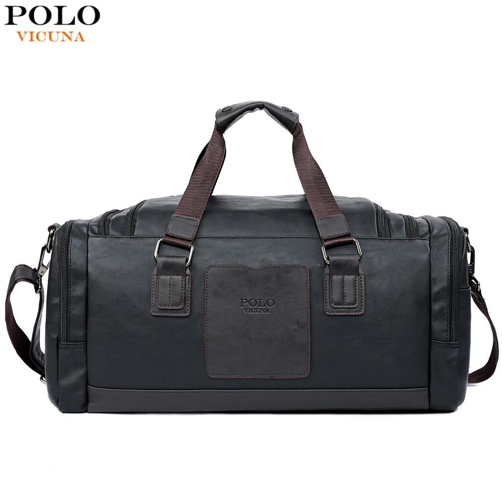 tienda de liquidación 34a0d edc8e € 23.84 50% de DESCUENTO|VICUNA POLO de gran capacidad bolsas de viaje para  hombres bolsa de lona negra de contraste Simple para viaje Casual de marca  ...