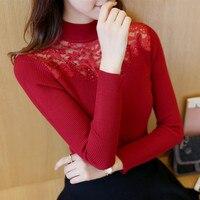 OHCLOTHING 30 new women's autumn Korean turtleneck collar lace half slim knit F1231