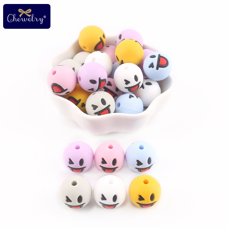 10pc Baby Silicone Teether Smile Beads Teething Food Grade Perle Silicone DIY Nursing Bracelets Pacifier Chain Children'S Goods