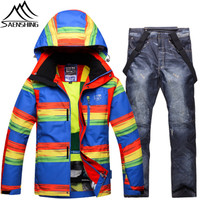 SAENSHING Ski Suit Men Winter Colorful Ski Jakcet Denim Snow Pants Waterproof Windproof Mountain Skiing Suit