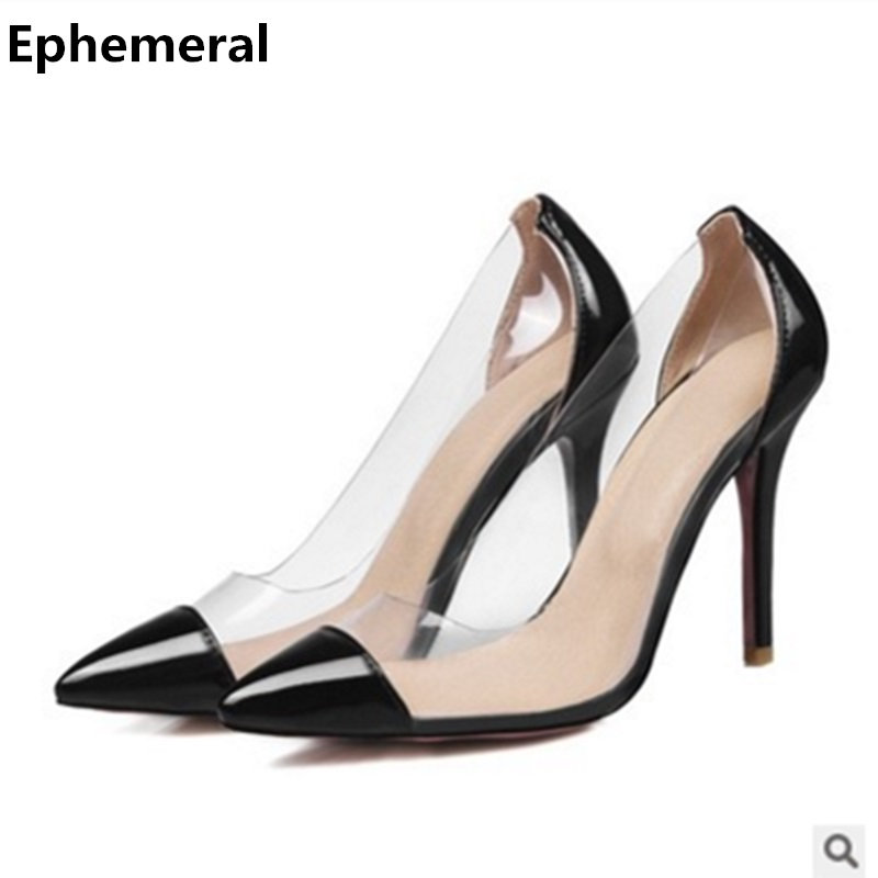 7e6f0f446f1 Women super high heel shoes transparent stiletto pumps patent leather  zapatos mujer ladies patchwork slip-on plus size 47 46 45