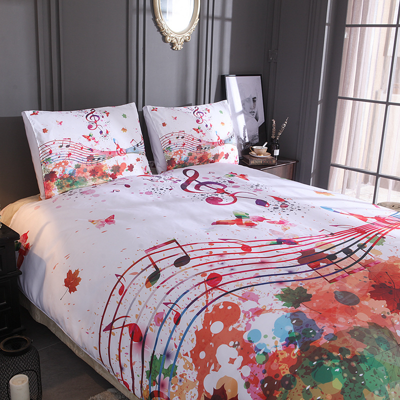 Red Butterfly HD Printed Bed Linen Set Twin Full Queen King Double Sizes Musical Note Bedclothe Holiday Gift No Fading 3pcs 4pcs