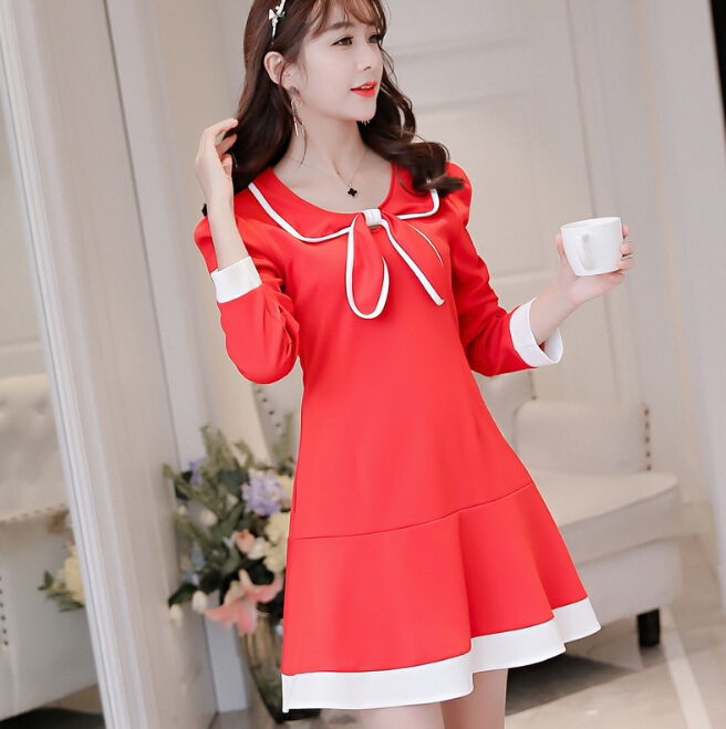 Long sleeve peter pan collar dress black