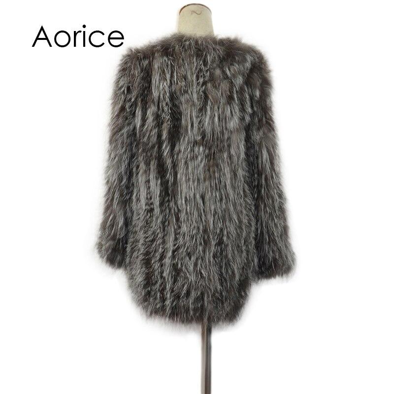 Cr045 Nouveau Argent veste Outwear Tricoté Renard Avec D'hiver Fourrure Le Pardessus photos Photo Manteau Real Réel De wwndqrvBg