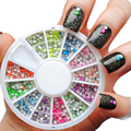 400 pcs 12 Color Aços Contas Studs Para Nails Decoração do Metal 2mm Neon Rodada Stud UV Gel Nail Art Design Roda w/box #7217
