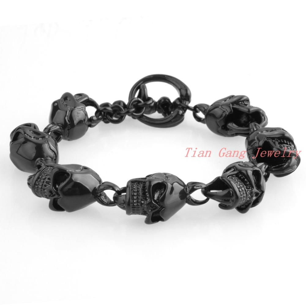 Fashion Punk Skull Black Plated Stainless Steel Charm bracelet for Women Bracelets & Bangles Charms Bracelets Men Jewelry Gift