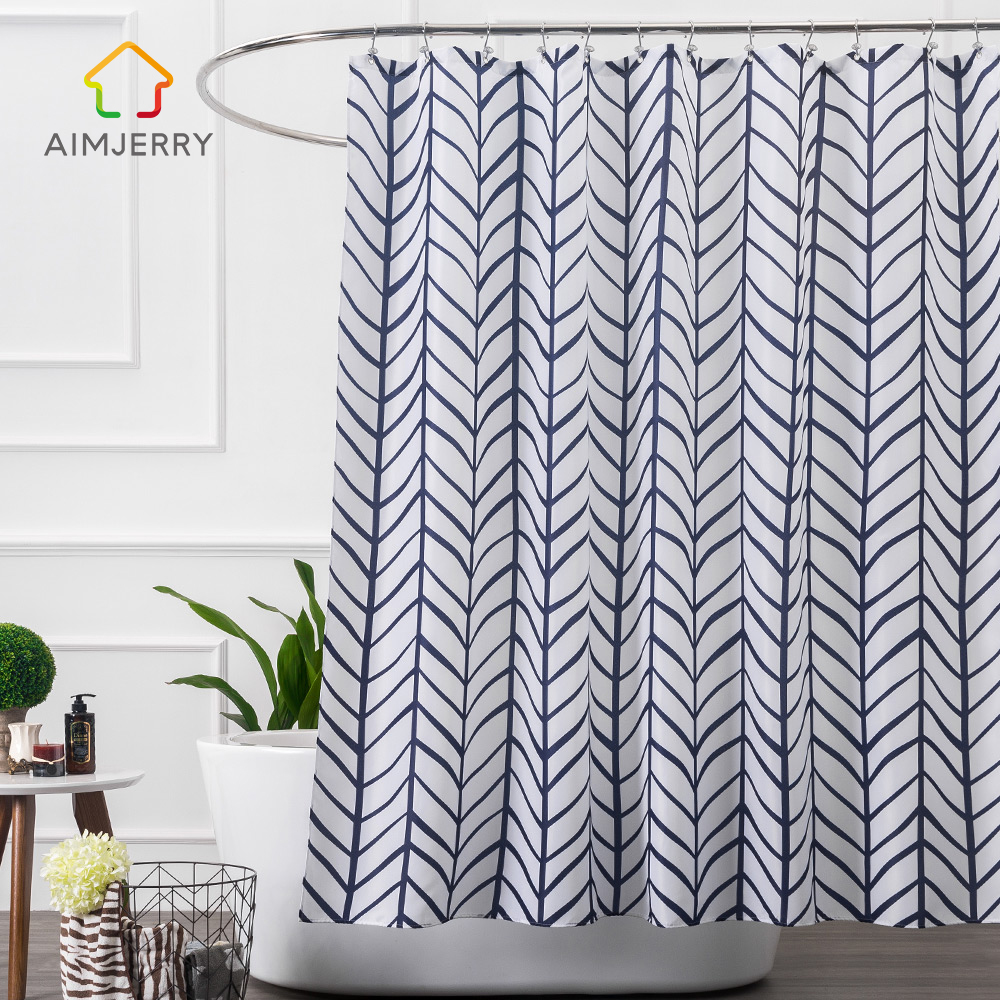Aimjerry Striped White and Blue bathroom shower curtains Geometric ...
