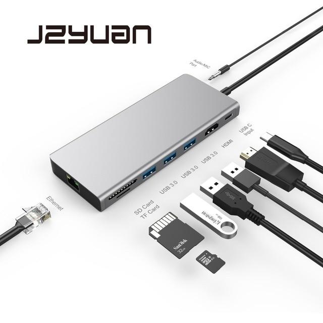 JZYuan USB HUB USB C 3.1 HUB to HDMI 4K Ethernet Thunderbolt 3 Type C Charging Dock For MacBook Pro Huawei P20 Pro USB HUB 3.0