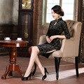 High Quality Black Vintage Chinese Traditional Women's Velour Half Sleeve Mini Cheong-sam Dress Flower S M L XL XXL